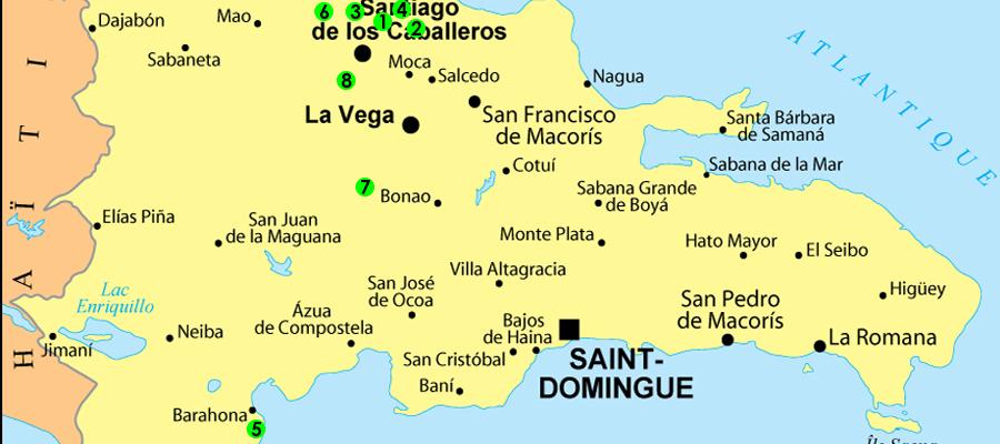 Carte des mines d'ambre bleu en république dominicaine